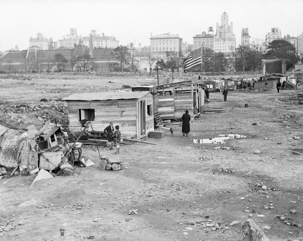 "1837, Manhattan, New York City, New York State, USA --- Original caption: New York City: Depression shacks ""Hoover Village"" in the old Central Park reservoir. Undated photograph. --- Image by © Bettmann/CORBIS"