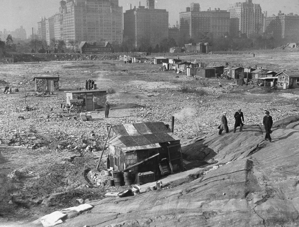 UNITED STATES - JANUARY 03: Hooverville in Central Park. A steady stream of vistors tour the small town built on the sight of the old reservoir by ex-soldiers. (Photo by Leroy Jakob/NY Daily News Archive via Getty Images)