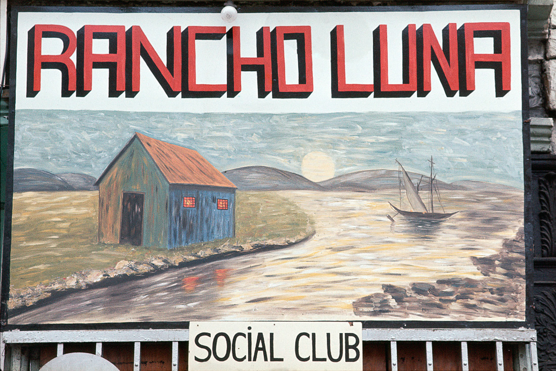 Social club sign, South Bronx, 1970